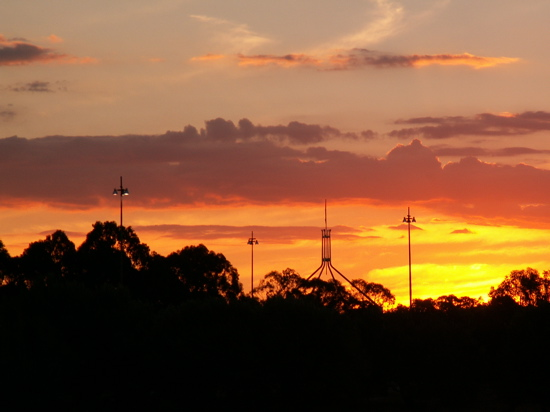 Sunset over Parliament House Canberra