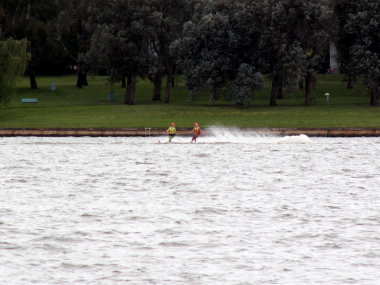 Waterskiers on Lake Burley Griffin