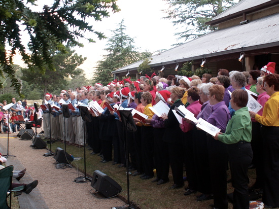 Colours and Blokes singing for Carols at Lanyon