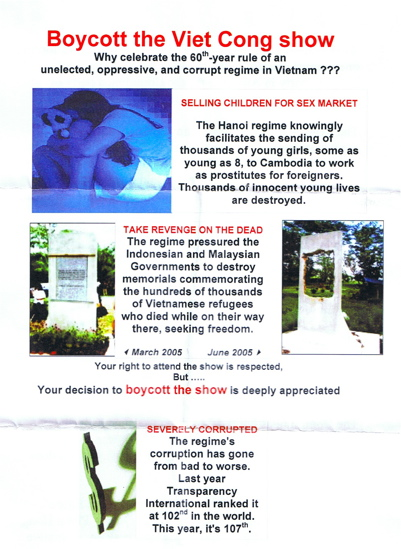 Flyer urging boycott of Charming Vietnam Gala